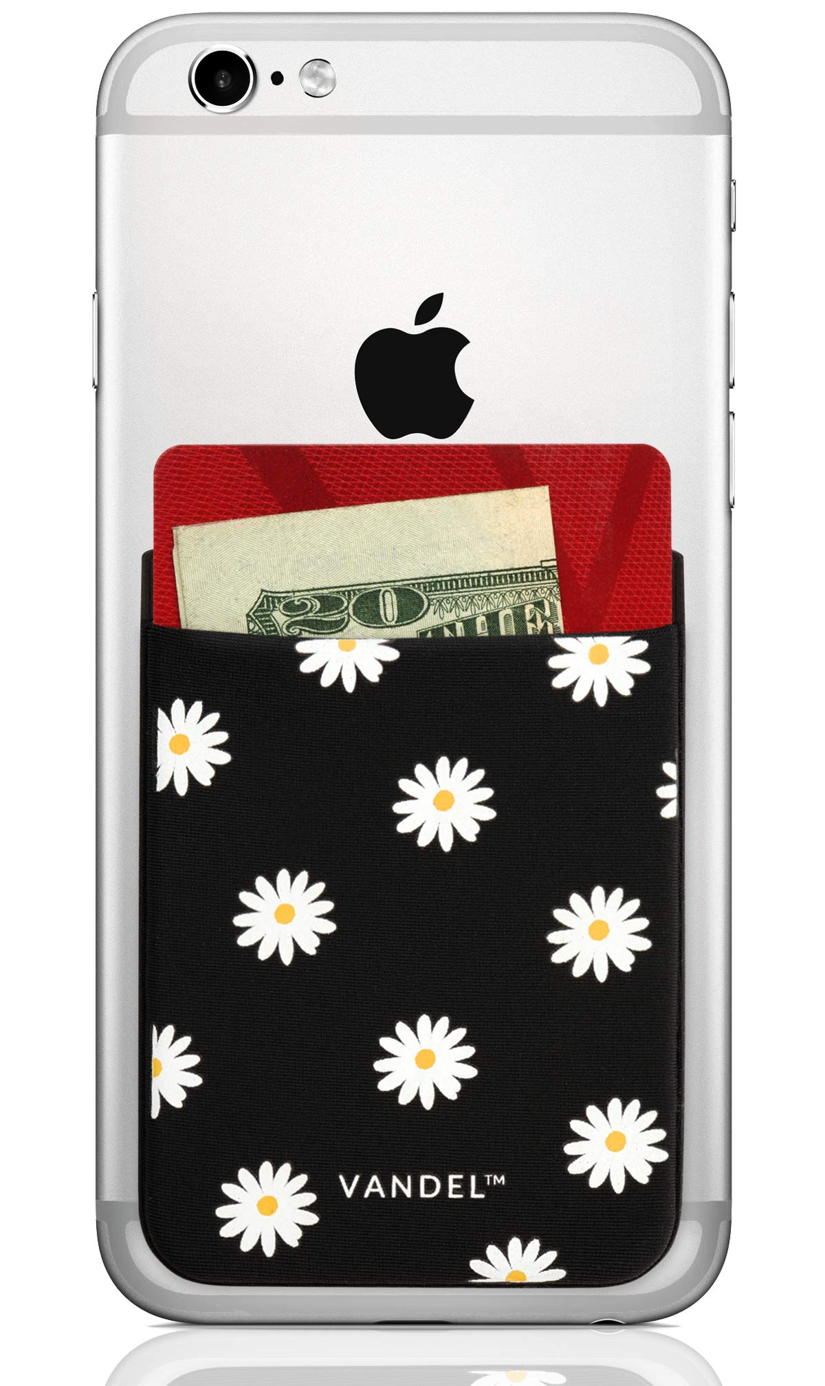 Vandel Pocket: Stick On Fabric Cell Phone Wallet | Credit Card Holder for Back of Smartphone Case | Stretchy Fabric Adhesive Sleeve Compatible with All Devices | Daisy by Vandel Brand