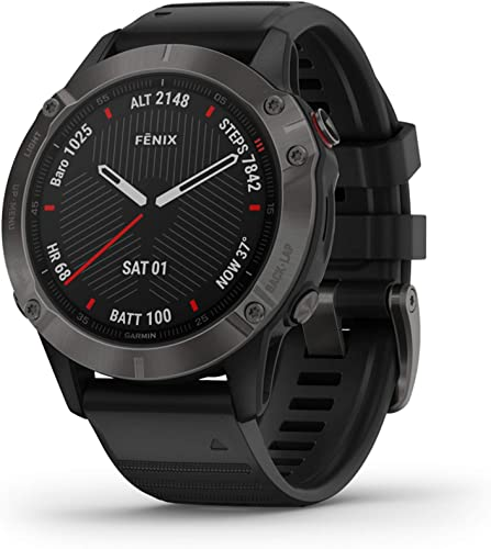 Garmin Fenix 6 Sapphire, Premium Multisport GPS Watch, Features Mapping, Music, Grade-Adjusted Pace Guidance and Pulse Ox Sensors, Dark Gray with Black Band Renewed