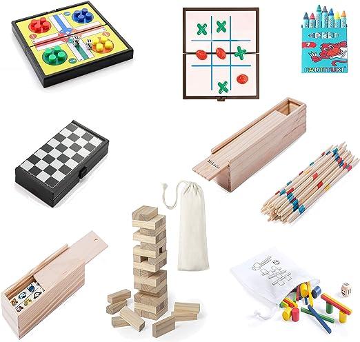 Partituki Pack Juegos de Mesa Familiares Incluye: 7 Ceras, Mini Parchís, Mini 3 en Raya, Mikado, Mini Damas, Dominó Infantil y 2 Juegos de Madera: de 33 Piezas Colores y de 45