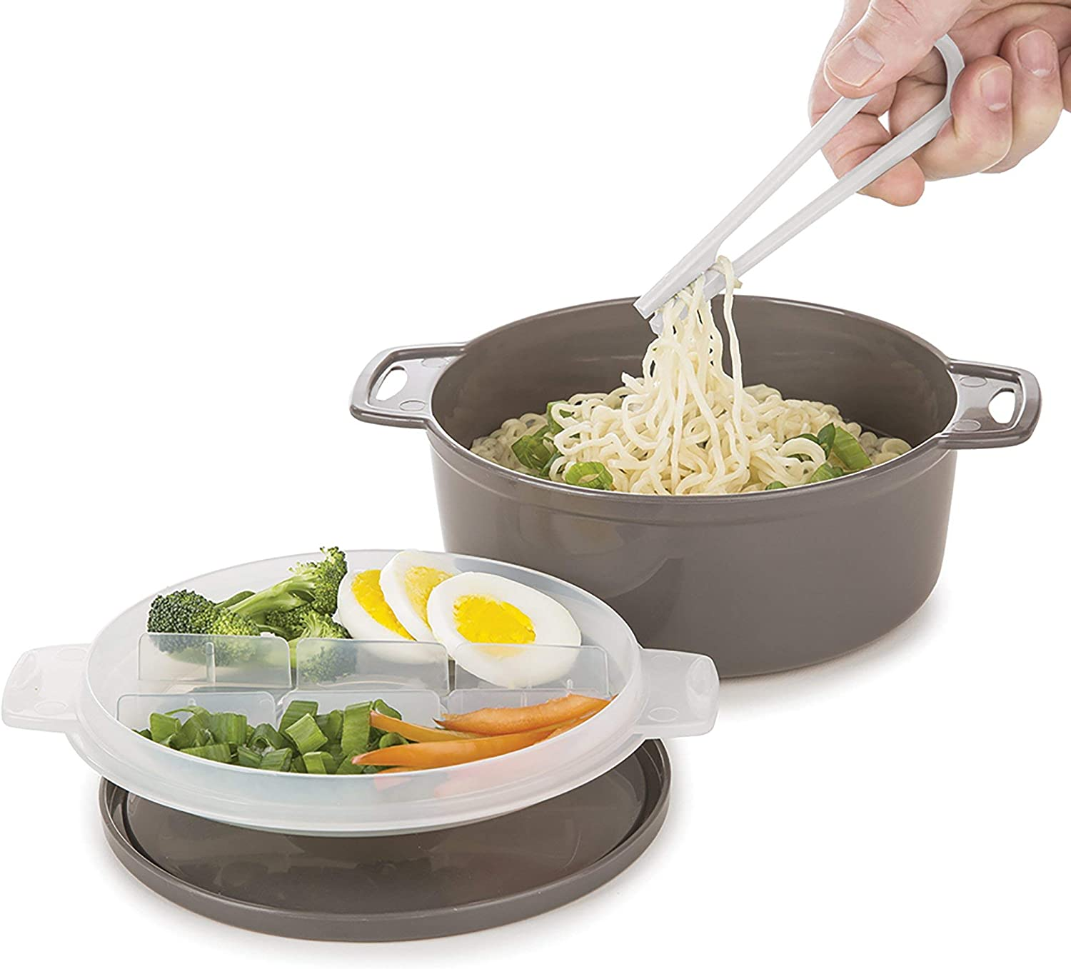 Prep Solutions by Progressive 4-Piece Microwave Ramen Bowl to-Go PS-94GY Soup Spoon Included Perfect for Ramen New Version Gray Pho Noodles Dishwasher Safe BPA Free Udon