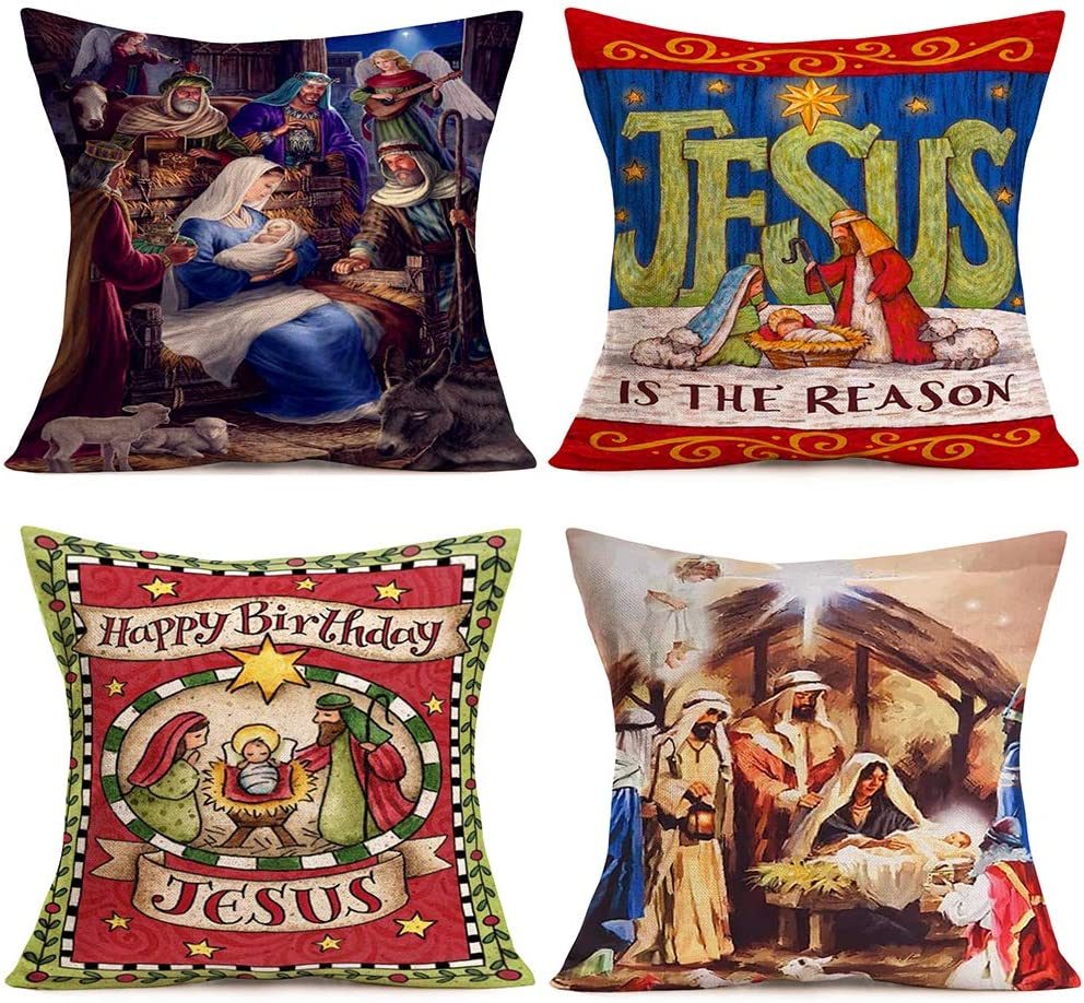 ShareJ 4 Pack Home Decor Pillowcase Happy Birthday Christmas Nativity Baby Jesus in Manger European Square Throw Pillow Covers Cotton Linen Cushion Case 18x18 Inches