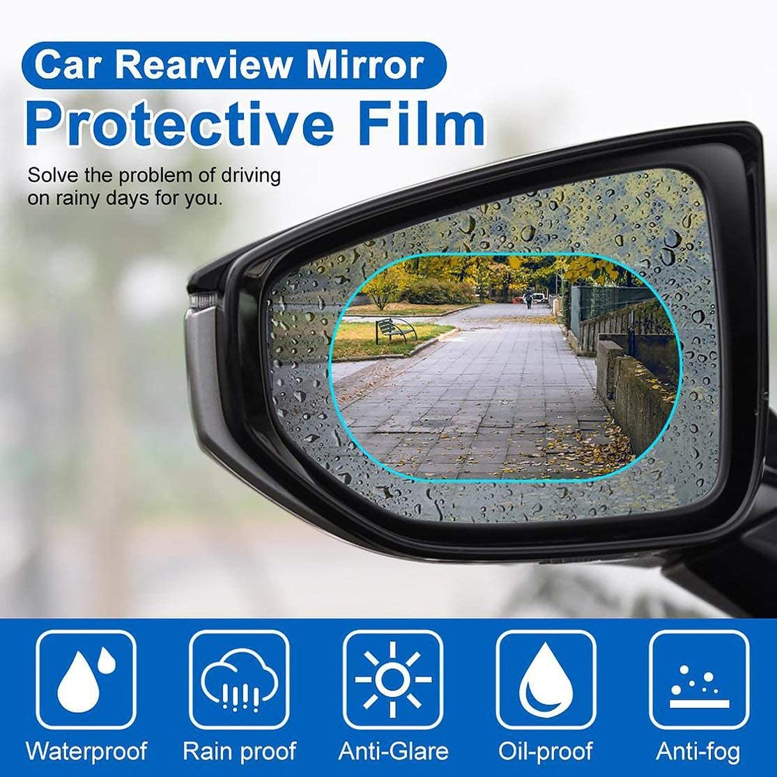Candybarbar Car Rearview Mirror Rain Film Reversing Mirror Anti-Fog Stick Glass Waterproof Film Universal Side Window Hd Film