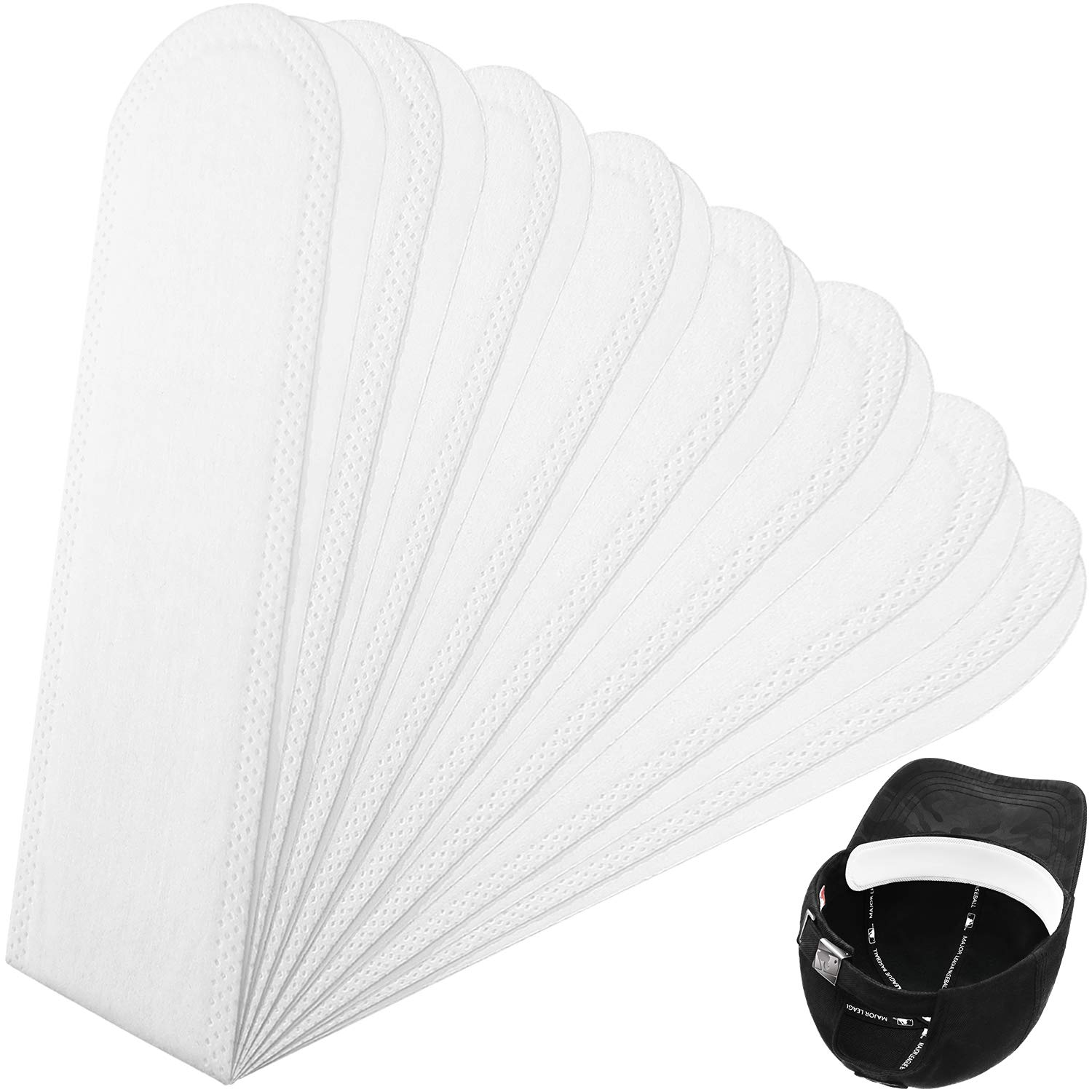 Gejoy 30 Pieces Golf Hat Liner Cap Protection Insert Headband Sweatband Liner Disposable Sweat Pads for Baseball Tennis Hunting Hat Moisture Absorbing Supplies White