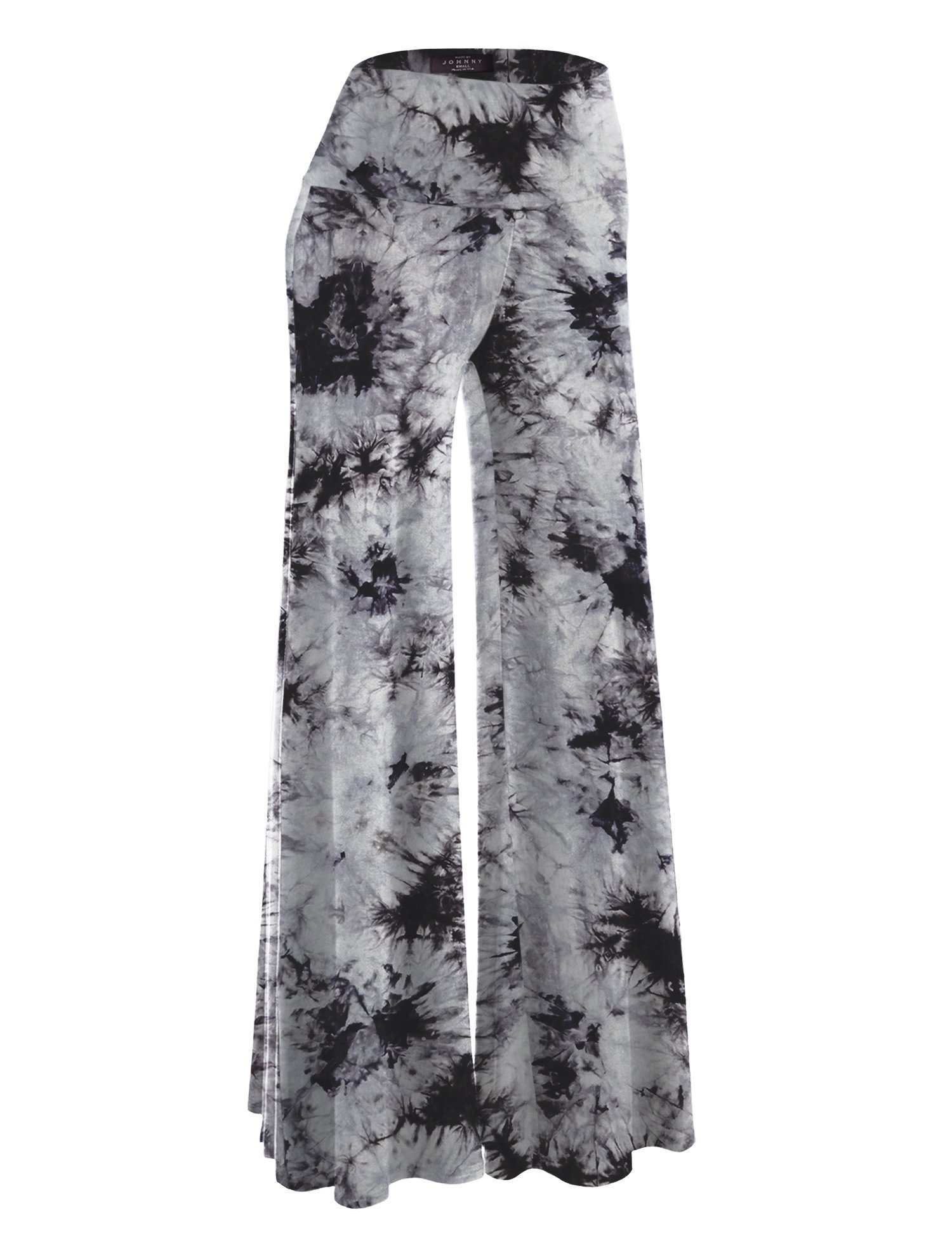 Made By Johnny WB1060 Womens Chic Tie Dye Palazzo Pants L White_Black