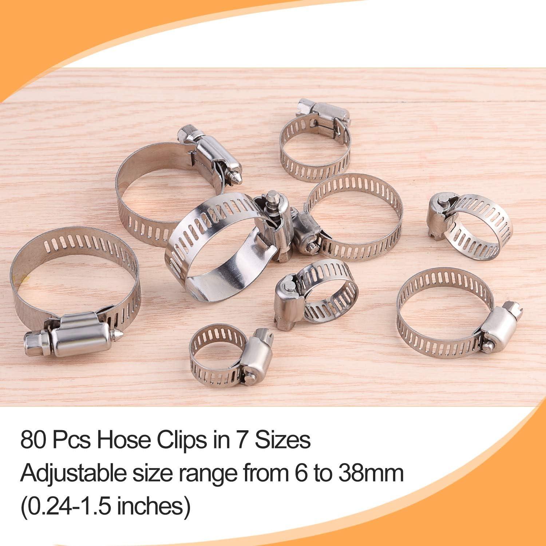MIAHART 80 abrazaderas ajustables para tubo de 6 a 38 mm abrazaderas para manguera abrazaderas para conductos de gusanos en almacenamiento de PP 7 tama/ños