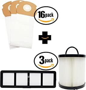 48 Replacement AS Vacuum Bags 68155, 3 DCF-21 Dust Cup Filter 68931A & 3 EF-6 Filter 69963 for Eureka - Compatible with Eureka AirSpeed AS1000A, Eureka AS1000A, Eureka AS1001A, Eureka AS1051A, Eureka AS1050, Eureka AS1053AX, Eureka AirSpeed Gold AS1001A, Eureka AirSpeed Gold AS1004A