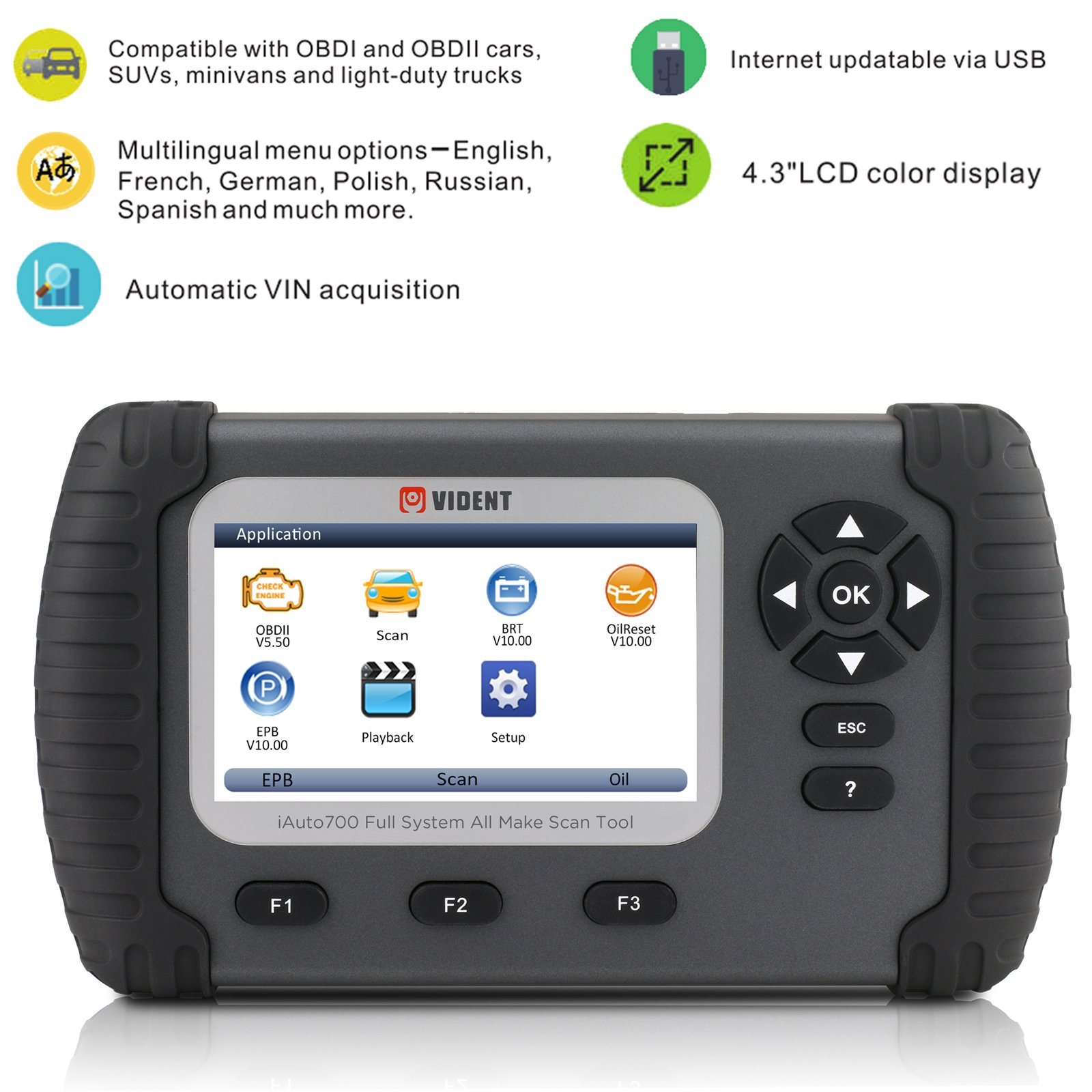 AUTOOL iLink700 4 3'' LCD Professional Full System Automotive Diagnostic  Tool Oil Reset EPB ABS SAS Airbag Reset DPF Regeneration Battery