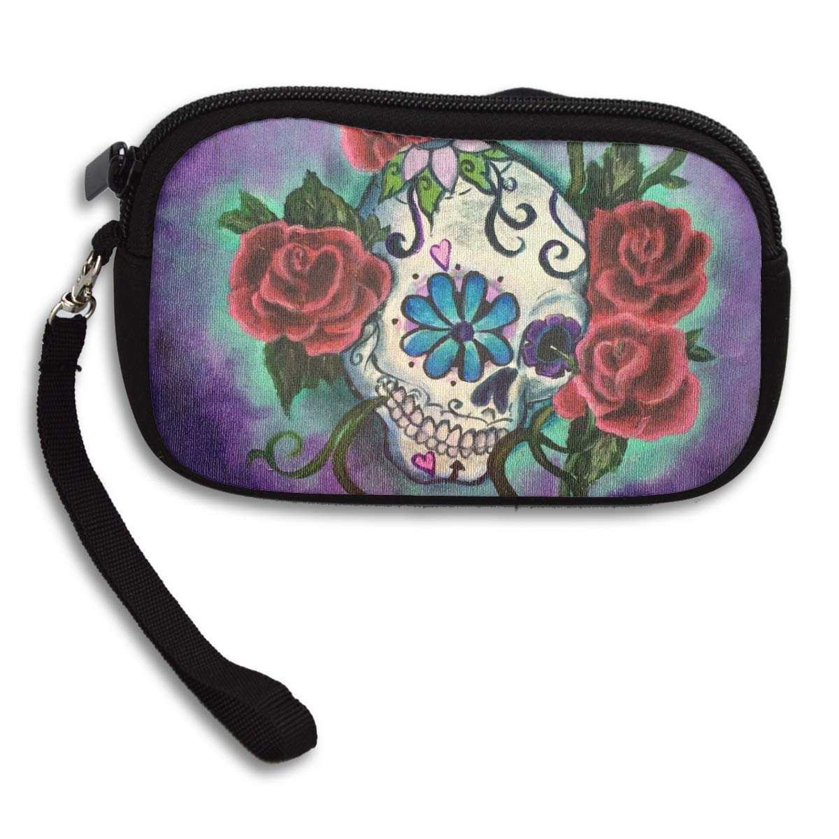 Coin Purse Sugar Skull Painting Coin Pouch With Zipper,Make Up Bag,Wallet Bag Change Pouch Key Holder