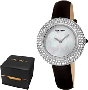 Akribos XXIV Women's AK1049 Swarovski Crystal & Diamond Accented Mother of Pearl Leather Strap Watch - Packed in a Beautiful Gift Box, Perfect for Mothers Day