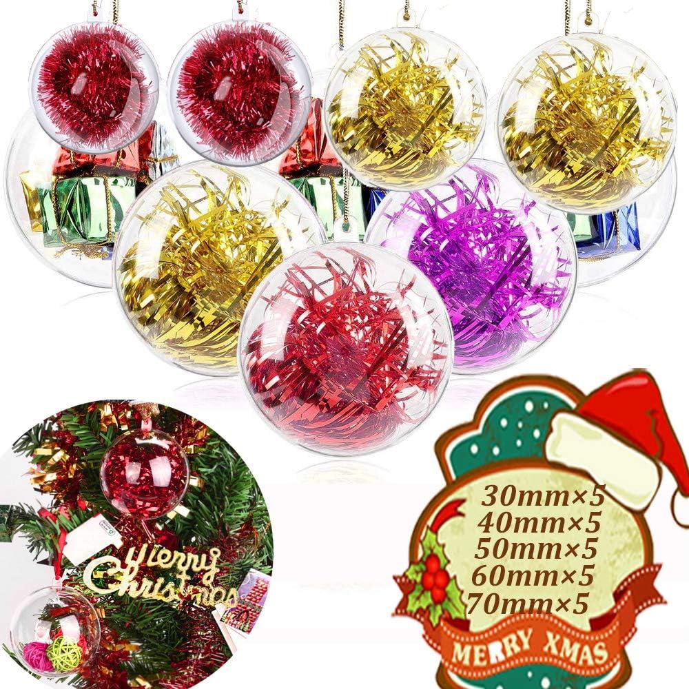 MSDADA 25Pcs 30mm,40mm,50mm,60mm,70mm Clear Christmas Ornaments Balls DIY Bath Bomb Mold, Plastic Fillable Ball Ornament for Wedding Party Christmas Tree Decoration