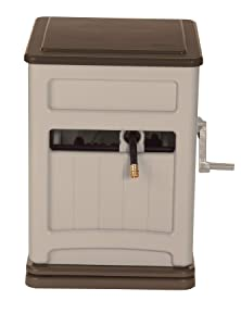 Suncast Resin Swivel Hose Hideaway and Storage Bin with Hose Guide - Durable Outdoor Automatic Hose Storage Reel with Swivel Base, Crank Handle, Lid, Slide Trak Hose Guide, and Storage - 225' Hose Capacity - Mocha and Taupe