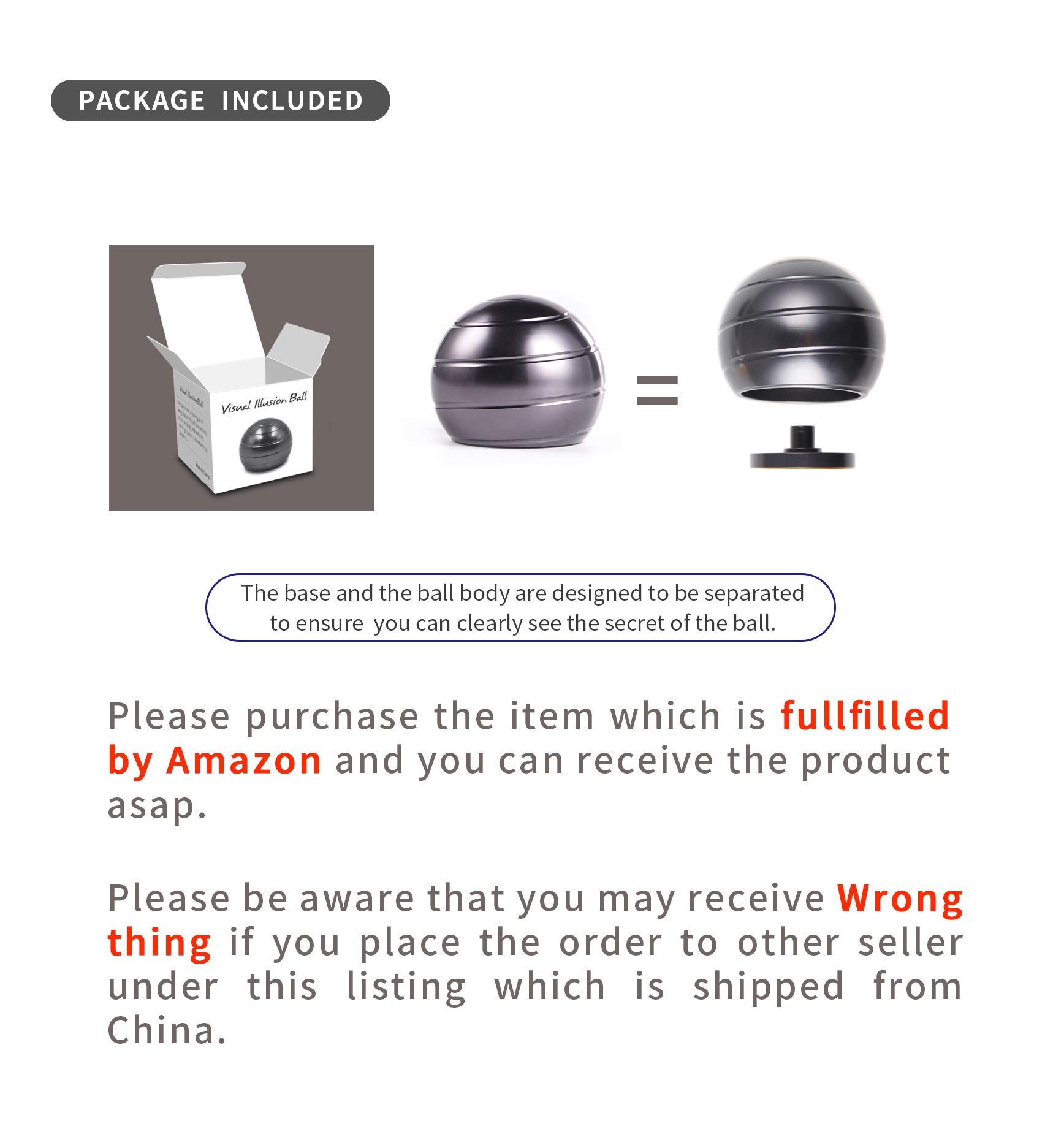 DESDK Kinetic Desk Toy Stress Relief Toys Office Executive Toys Metal Fidget Spinner Ball with Optical Illusion for Adults & Kids, Anti Anxiety ADHD Relieve Stress Inspire Inner Creativity(Gray) by DESDK (Image #6)
