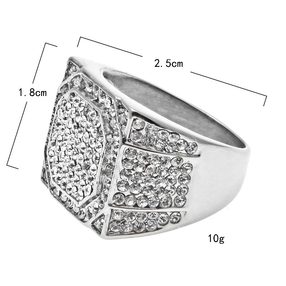 Uscharm Square Stainless Steel Mens Ring Rhinestone Crystal Silver Rings for Him Engagement Rimngs Wedding Bands by Uscharm (Image #2)