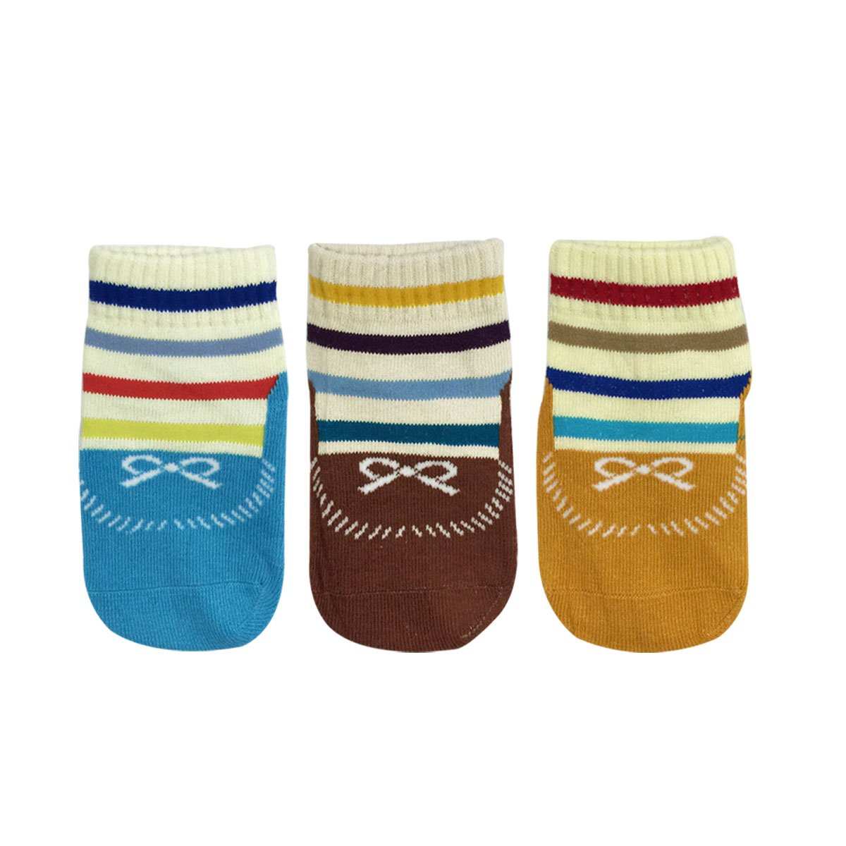 Set of 3 Wrapables Anti Slip Striped Loafer Socks for Babies