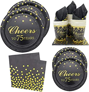 Pandecor 80PCS Gold Cheers to 75 Years Disposable Tableware Set -Serves 20- Include Dinner Plates,Dessert Plates,Cups and Napkins for 75th Birthday Party and Anniversary Party