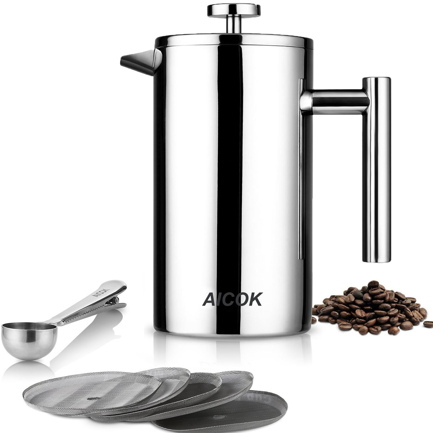 aicok kaffeebereiter edelstahl french press system. Black Bedroom Furniture Sets. Home Design Ideas