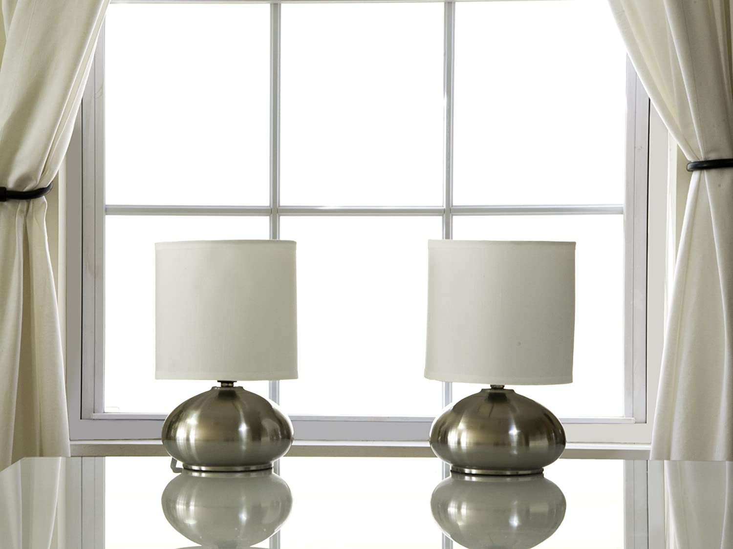 Light Accents Touch Lamps Set of 2, Bedroom Side Table Lamps Brushed ...