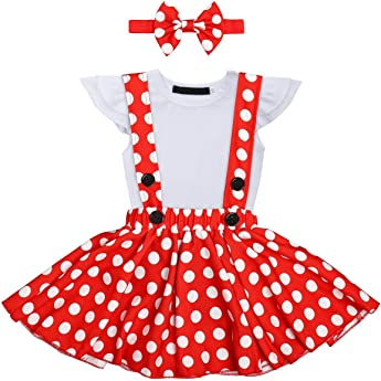 OwlFay Bebé Niñas Vestido Lunares Polka Dots Tutu+ Mameluco Romper + Diadema Traje de Princesa Fiesta para Carnaval Cumpleaño Natale 0-6 Meses: Amazon.es: Ropa y accesorios