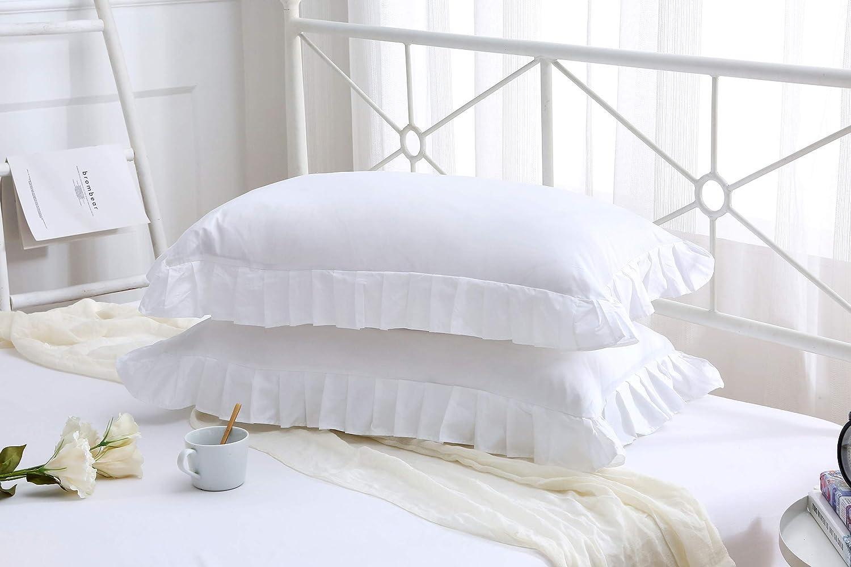 Meaning4 Blanc Lacet Taie d Oreiller N/œud Papillon Oreiller Couvre Pur Coton Pillowcases 40x80CM Lot de 2