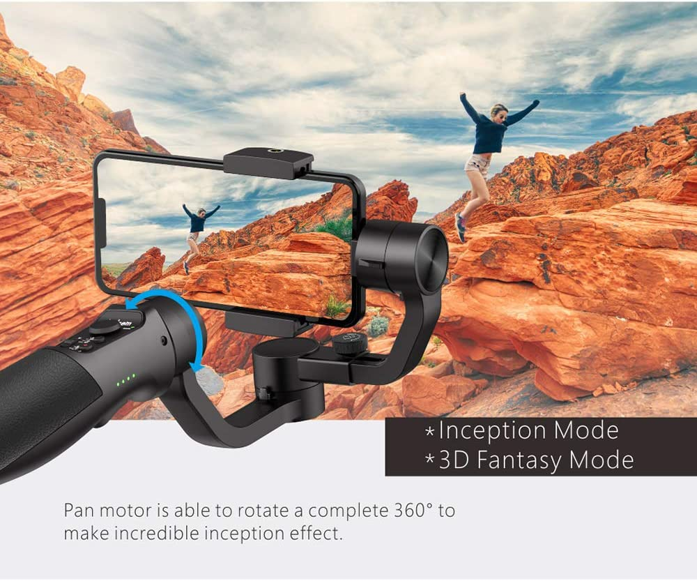 ZNHL 3-Axis Handheld Gimbal Stabilizer for Smartphone,Face Tracking,Anti-Shake Smooth Zoom stabilizer Max Load 9.8 oz for self-Timer//Travel//Sports