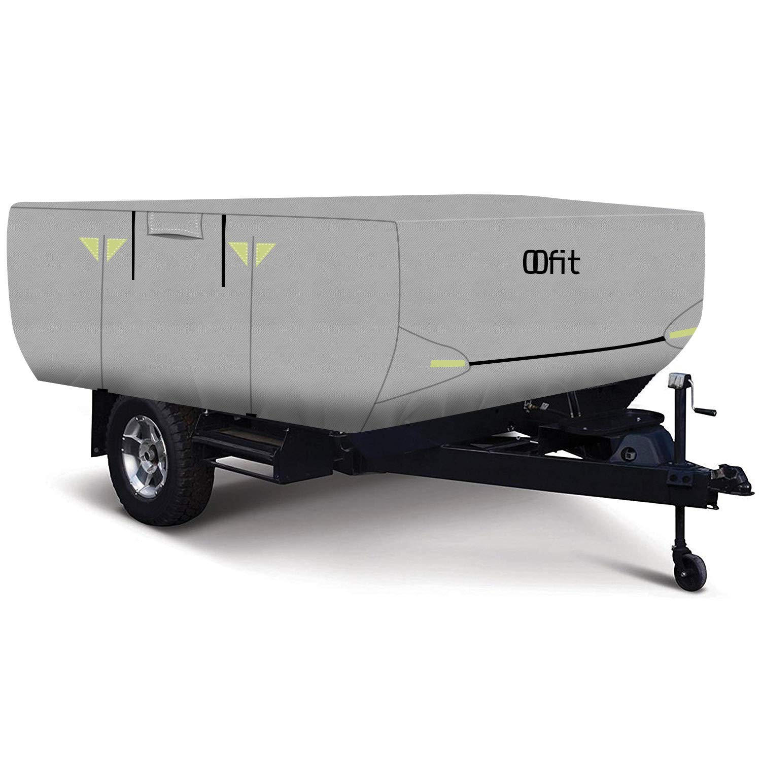 OOFIT 10' - 12' Folding Pop Up Camper Tent Trailer RV Cover - Breathable 4 Layers Non-Woven Fabric with Adhesive Repair Patch by OOFIT