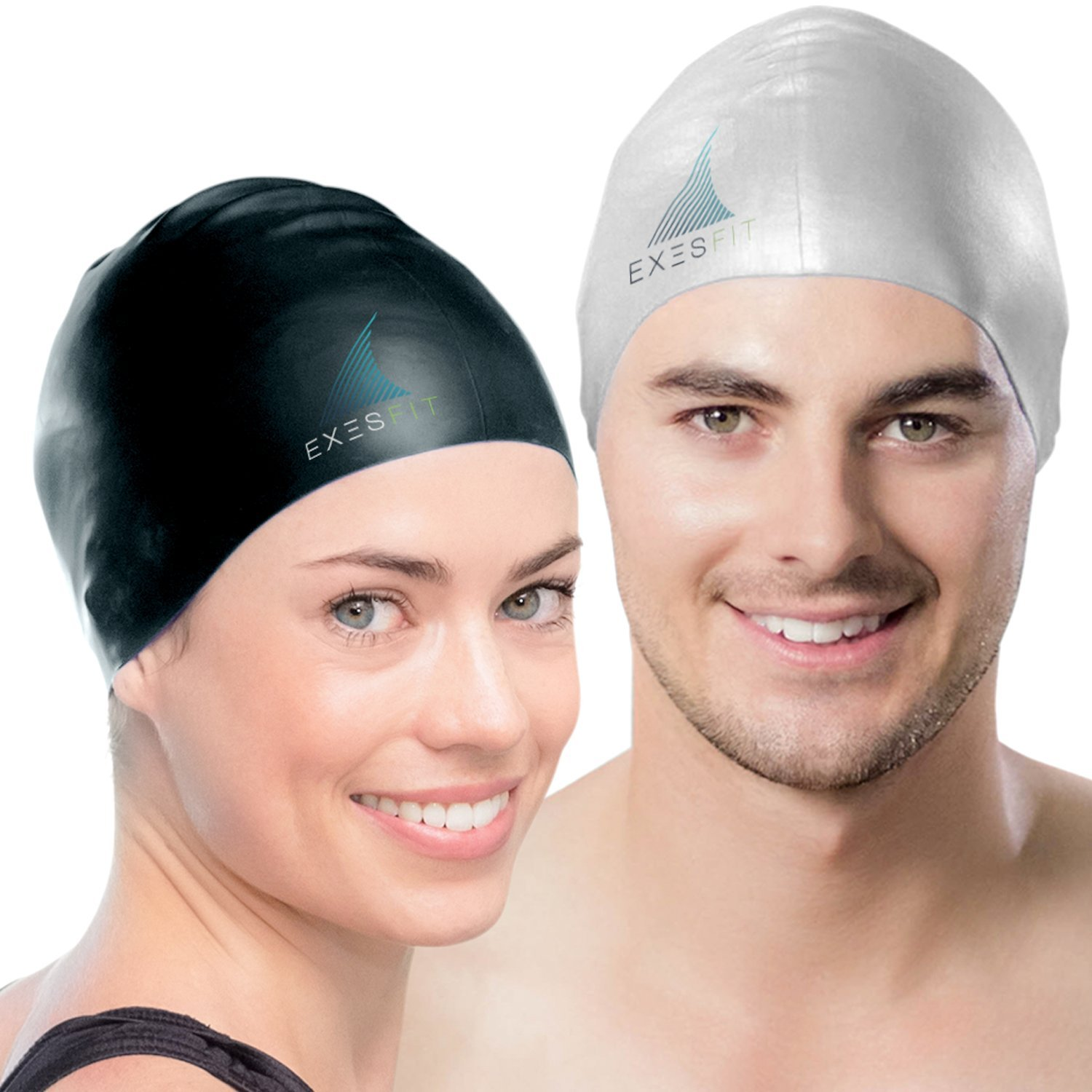 Set of 2 – High Quality Swim Caps for Adult Men and Women – Protects your Hair and Ears while Swimming – Protective Zipper Case Included – Exclusiv Swim Cap Gift Set for Him and Her