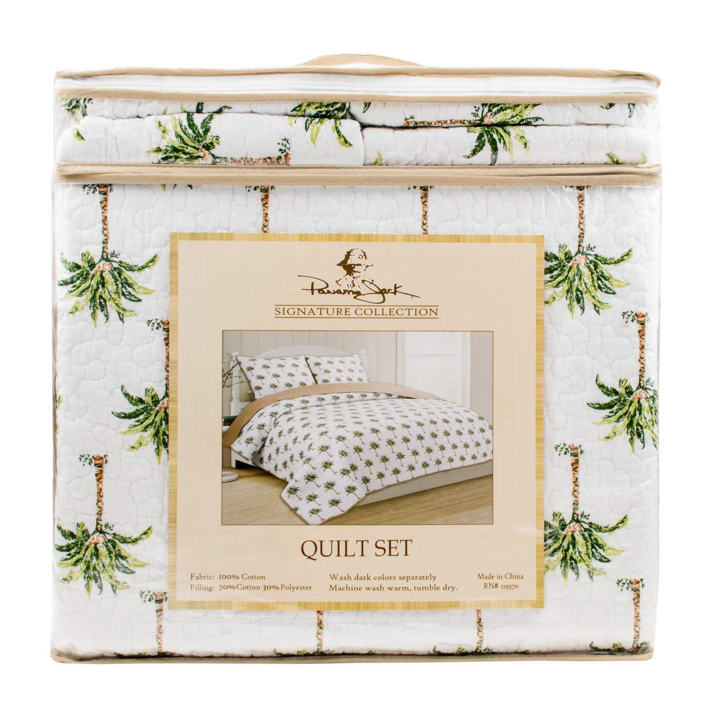Palm Tree Signature Collection 3 Piece King Size Reversible Cotton Quilt Set