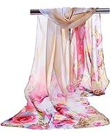 E-Clover Lightweight Chiffon Sheer Scarves: Women's Pretty Rose Print Scarf