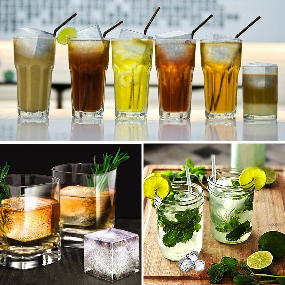 Lianqi Bac /à Gla/çon en Silicone Pack de 2 Gla/çons Sph/ère et Cube pour le whisky congel/é des cocktails et des boissons