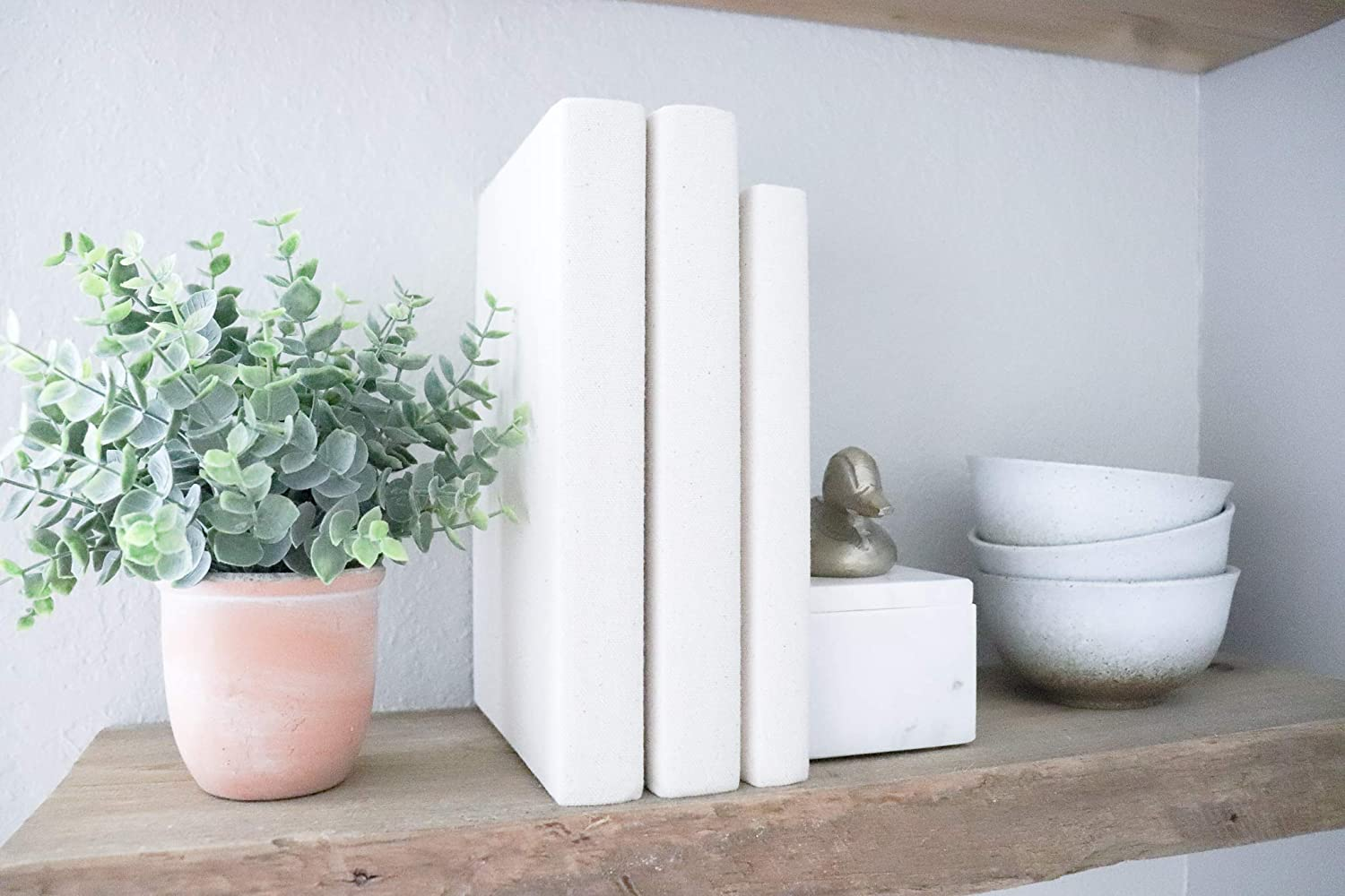 Set of 3 Neutral Ivory White Books for shelves coffee tables /& home d/écor Decorative Fabric Covered Book Set