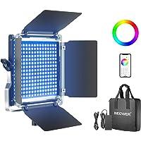 Neewer 480 RGB Led Light with APP Control, 480 SMD LEDs CRI95/3200K-5600K/Brightness 0-100%/0-360 Adjustable Colors/9…