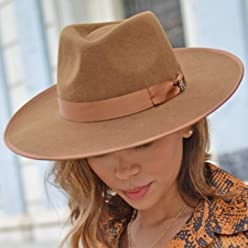 2b2e761950e611 RACEU ATELIER Caramel Nuba Hat - Wide Brim Fedora Hat - 100% Wool Felt -