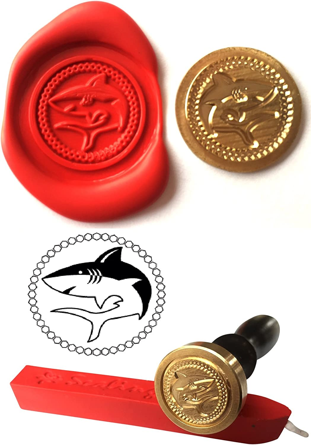 Wax Stamp S22 SHARK Water Sport Coin Seal and Red Wax Stick XWSC051-KIT