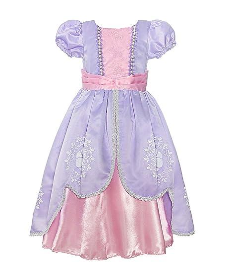 8b6ef099db2f Amazon.com: Rizoo Little Girls Vintage Tea Length Satin Summer Dresses  Princess Sofia Costumes Birthday Party Dress up: Clothing