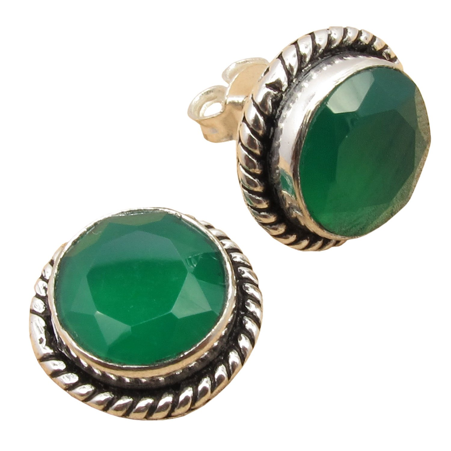 925 Silver Plated! Genuine GREEN ONYX Handcrafted Studs Earrings 5/8 inches Diameter! Fine Jewelry