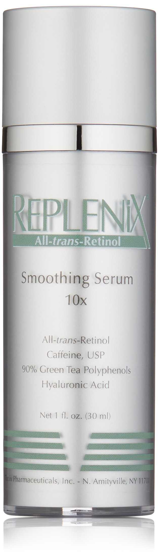 Replenix All-trans-Retinol Smoothing Face Serum 10X for Wrinkles, Fine Lines, with Retinol, Green Tea, and Caffeine, 1 Oz