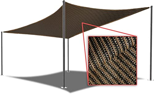 E K Sunrise 11' x 14' Brown Rectangle Sun Shade Sail Outdoor Shade Cloth UV Block Fabric,Curve Edge-Customized