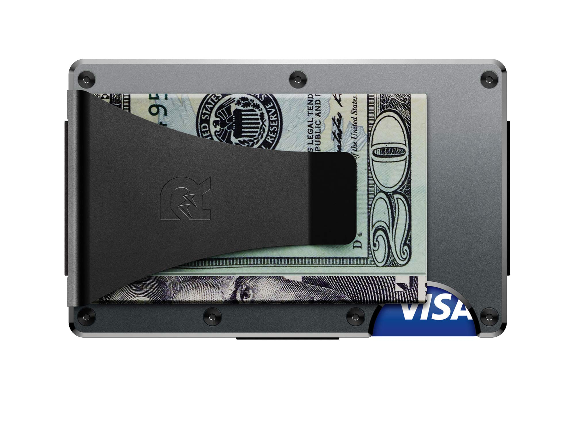 The Ridge Authentic Minimalist Metal RFID Blocking Wallet - Money Clip (Gunmetal)