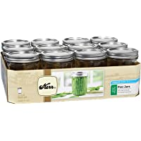 Kerr Wide Mouth Pint Glass Mason Jars 16-Ounces with Lids and Bands 12-Count per (1-Case), Clear