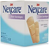 3M Nexcare 658-100 Sheer Bandages, Assorted, 100/Box