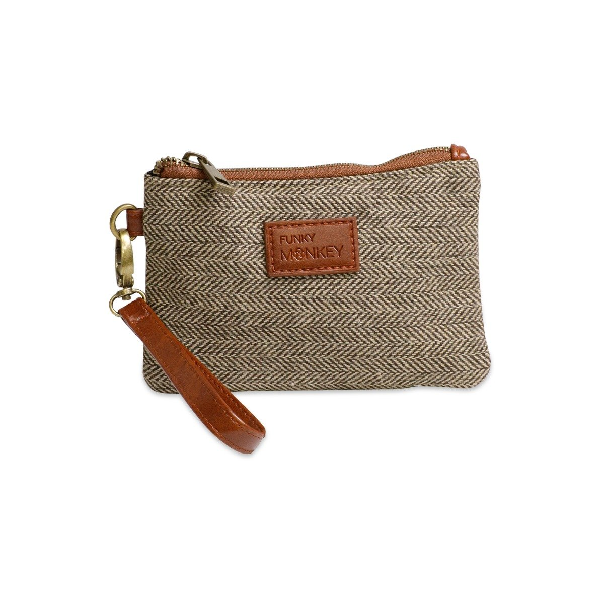 {Sophie Collection} Wristlet Wallet Clutch Bag - Phone Purse Handbag - Small, Medium, Large Size - Brown & Beige Herringbone Style - Funky Monkey Fashion (Small)