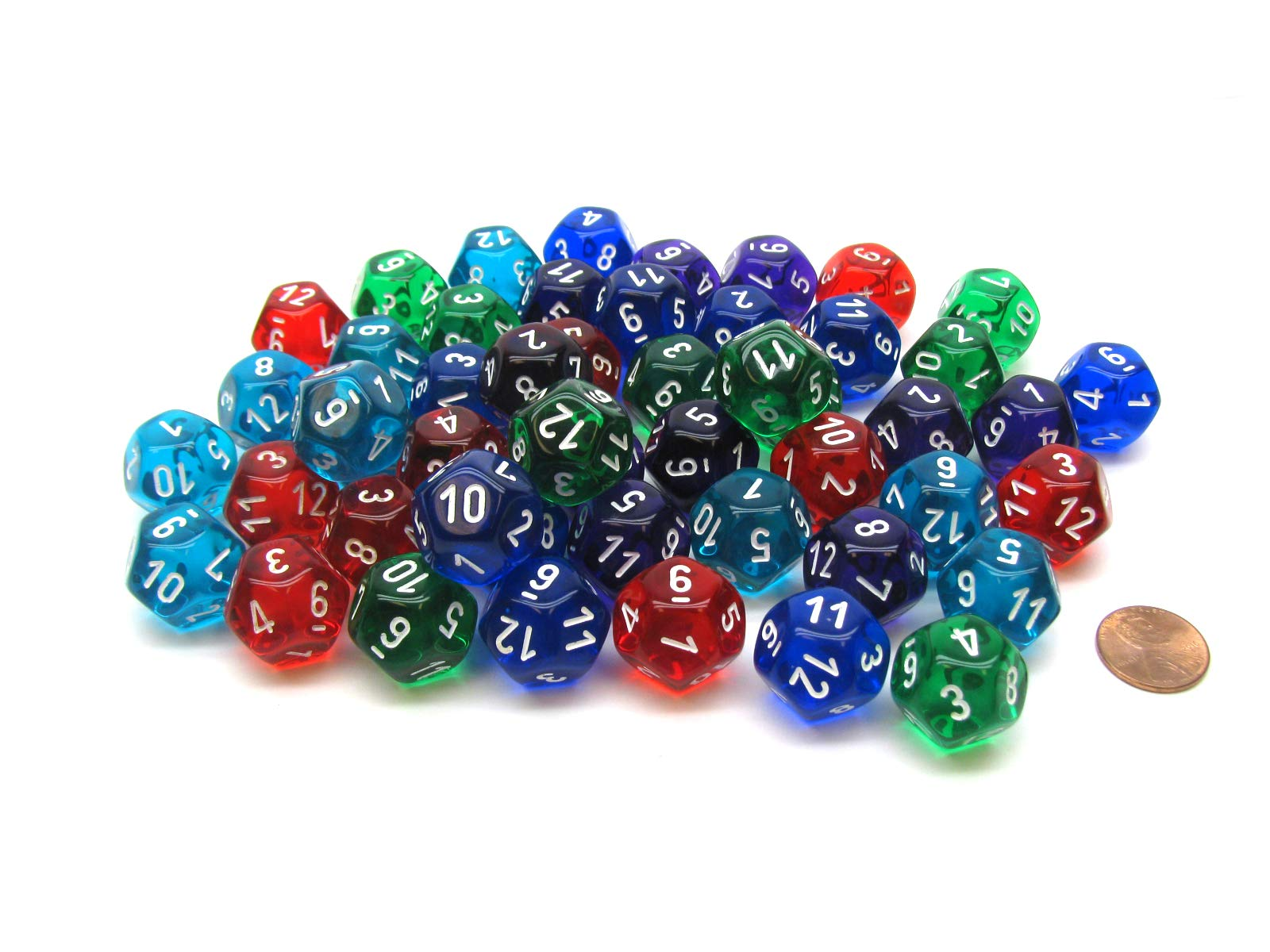 Chessex Limited Edition Bag of 50 Assorted Loose Translucent Polyhedral D12 Dice