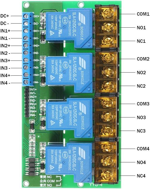 4-Kanal-DC 12V 30A Relaismodul Control Board Optokoppler Isolation High//Low-Trigger ROEAM Relais Modul