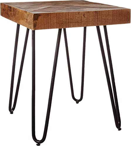 Mindful Living Solid Wood Chevron End Table Small