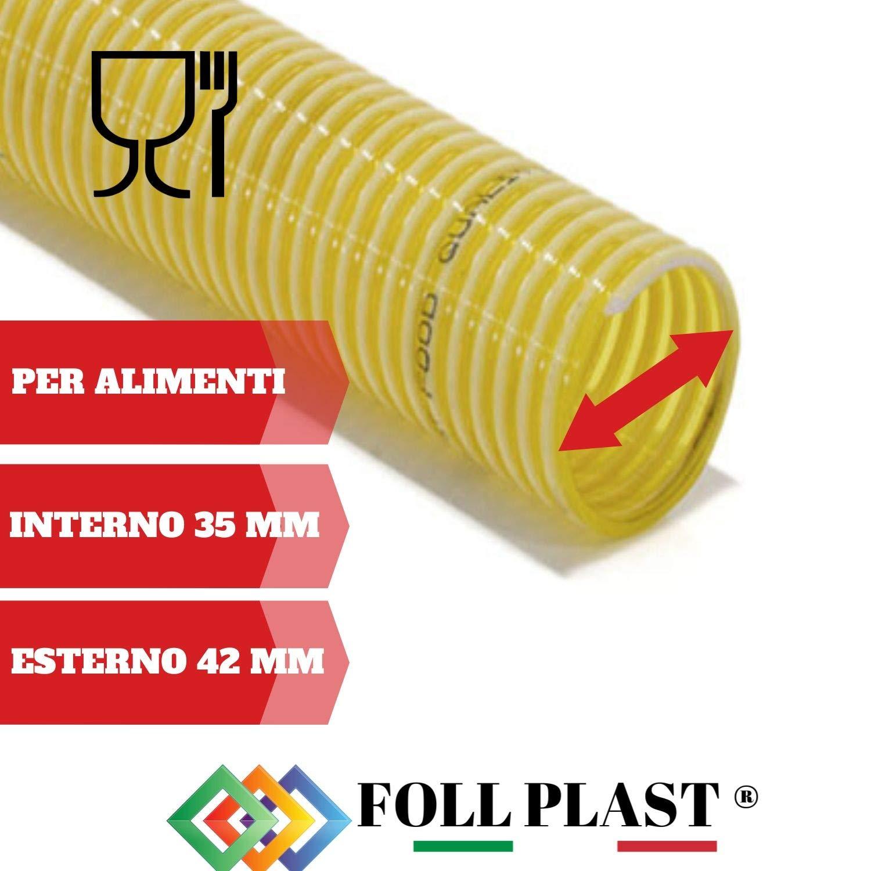 TUBO SPIRALATO PVC D 35 MM INTERNO PER ALIMENTI 2 METRI DI GUIDETTI SERVICE