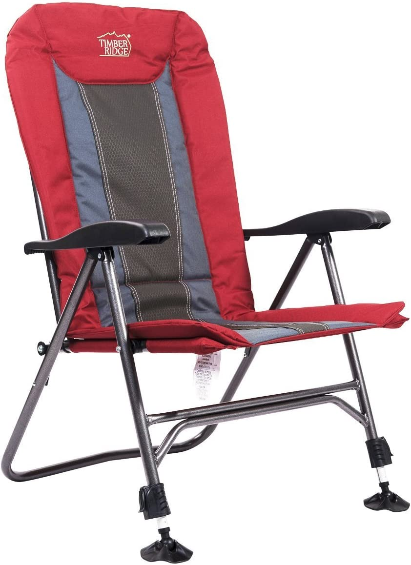Timber Ridge TRFCH011LA Camping Chair Folding Heavy Duty with Adjustable Reclining Padded Back and Legs Supports 300lbs for Fishing and Garden, Lava