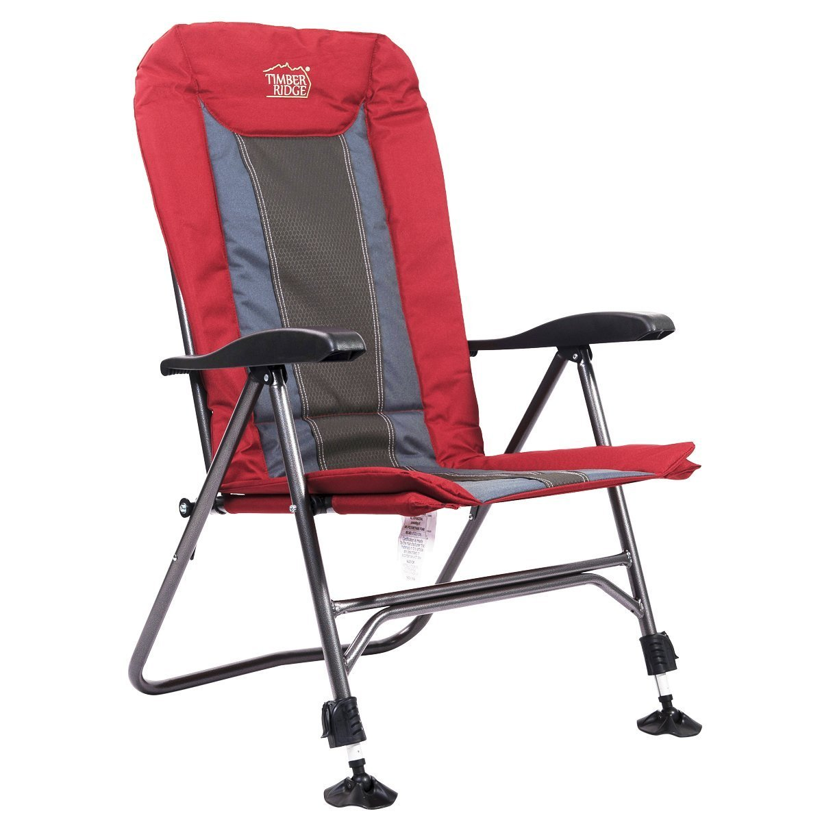 Timber Ridge TRFCH011LA Camping Chair Folding Heavy Duty with Adjustable Reclining Padded Back and Legs Supports 300lbs for Fishing and Garden, Lava by Timber Ridge