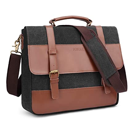 Messenger Bag Fits 15.6 Inch Laptop for Men and Women Vintage Genuine Leather  Shoulder Bag Durable c1730b38a8435