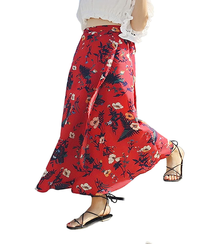 Botanmu Womens Wrap-Around Skirt Tie-Waist Floral Printed Chiffon Long Skirt Plus Size Wrap Beachwear Skirts Cover Up
