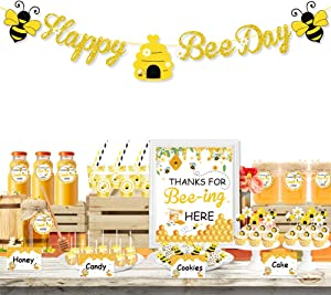 UTOPP Bee Party Decorations Set - Happy Bee Day Banner Dessert Table Favors Food Tents Sign Cup Stickers Gift Tags with String for Kids Honey Bee Birthday Party,Honeycomb Baby Shower,Sweet as Can Bee Party Decor